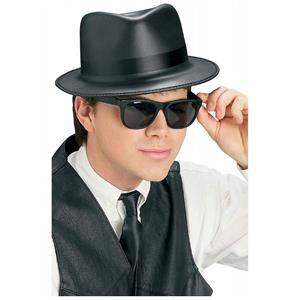 Singin' the Blues Brothers Black Costume Fedora Hat and Wayfarer Sunglasses Set