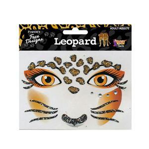 Glittered Rhinestone Leopard Face Design Art Self Adhesive Stickers Decor Makeup
