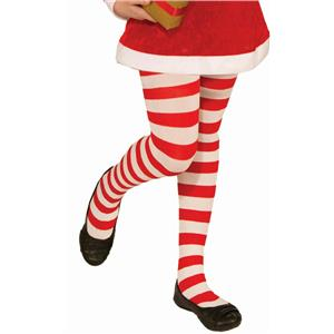 Red and White Striped Child Christmas Candy Cane Tights Size Large 12-14