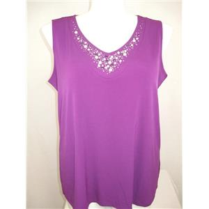 Susan Graver Size 1X Bright Violet Liquid Knit V-neckline Tank w/ Embellishments