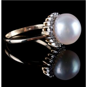14k Yellow Gold Round Cut Cultured Pearl & Diamond Halo Ring .20ctw