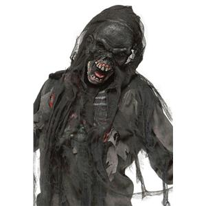 Fun World Black Burnt Burning Dead Zombie Mask with Shroud