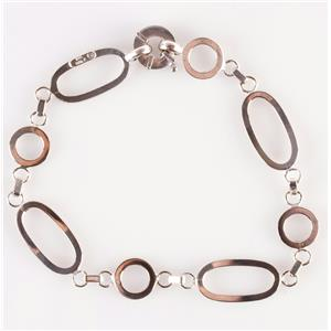 "14k White Gold Oval Link & Circle Link Bracelet 6.1g 8"" Length"
