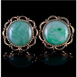 Vintage 1960's 14k Yellow Gold Jade Buttons Converted To Clip On Earrings
