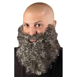 Fun World Gray Big & Curly Bushy Mustache and Beard Facial Hair Set