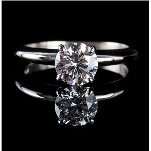 Stunning 14k White Gold Round Cut Diamond Solitaire Engagement Ring 1.10ct