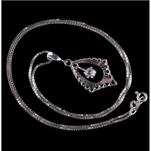 Vintage 1950's 18k White Gold Round Cut White Sapphire Solitaire Necklace .18ct