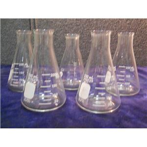 (LOT OF 5) PYREX ERLENMEYER FLASK LAB GLASS GRADUATED 250ML 4980