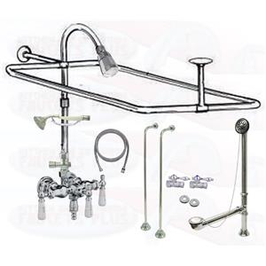 Chrome Clawfoot Tub Faucet Add-A-Shower Kit