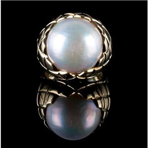 18k Yellow Gold Round Button Cut Cultured Pearl Solitaire Pineapple Style Ring