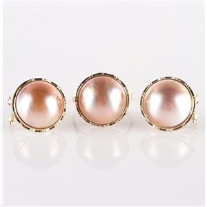 14k Yellow Gold Round Cultured Mabe Pearl Solitaire Ring & Earring Set