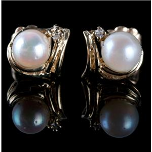 14k Yellow Gold Round Cut Cultured Pearl & Diamond Stud Earrings .02ctw