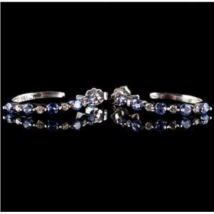 14k White Gold Round Cut Tanzanite & Diamond Hoop Earrings 1.0ctw
