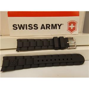 Swiss Army Watch Band Maverick GS Swiss Made Genuine Black Rubber Strap w/Pins