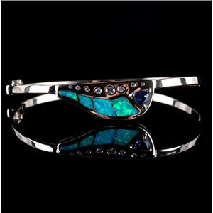 14k Yellow Gold Inlay Opal / Tanzanite / Diamond Hinged Bangle Bracelet 1.38ctw