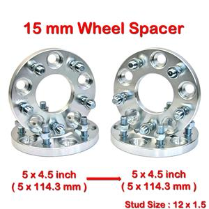4 pcs 15 mm 5 Studs 12 x 1.5 PCD 5 x 114.3 to 5 x 114.3 mm Wheel Spacer Spacers