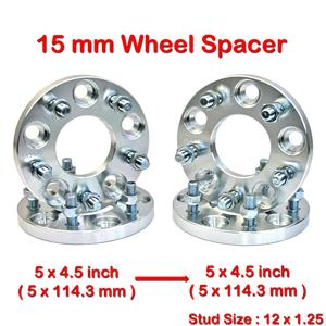 4 pcs 15 mm 5 Studs 12 x 1.25 PCD 5 x 114.3 to 5 x 114.3 mm Wheel Spacer Spacers