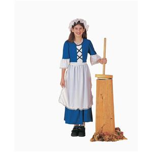 Colonial Girl Child Costume Dress and Mop Cap Size Medium 8-10