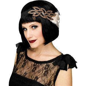 Fun World Fancy Gorgeous Black Champagne 1920's Beaded Feather Flapper Headband