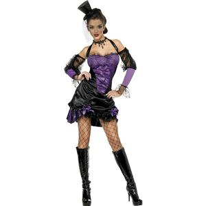Smiffy's Sexy Purple Black Fever Seductive Can Can Adult Costume Size Small 6-8