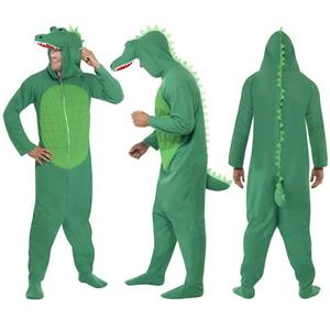 Smiffy's Men's Green Crocodile Costume All In One with Hood Size Large
