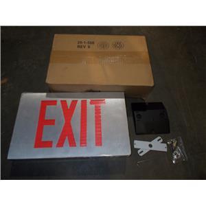 LIGHTOLIER LDA1RA EMERGENCY EXIT SIGN 120/277V ALUMINUM HOUSING W/ RED LETTERS