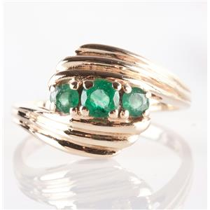 10k Yellow Gold Round Cut Emerald Three-Stone Cocktail Ring .47ctw