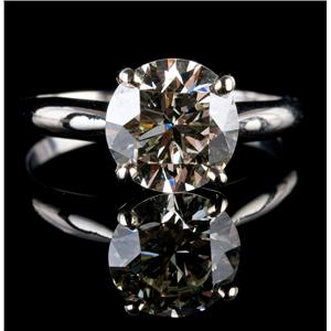 Vintage 1950's 14k White Gold Round Cut Diamond Solitaire Engagement Ring 2.2ct