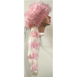 elope Fuzzy Pink and White Coonskin Costume Hat