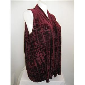 Susan Graver Size 2X Sleeveless Burnout Design Cascading Open Front Vest - Wine