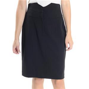 NWT 6 Kensie Pretty Black High Waist Straight Pencil Skirt Button Front/Slit