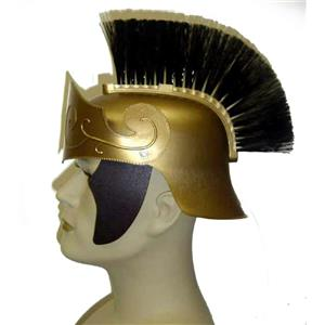 Deluxe Durable Gold Roman Centurion Gladiator Helmet With Black Brush
