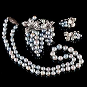 Vintage 1950's Sterling Silver Cultured Pearl Necklace / Brooch / Earring Set