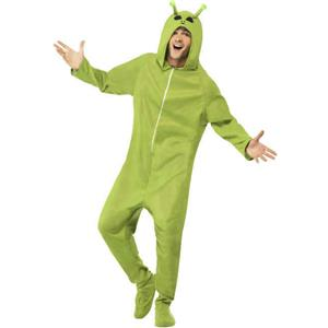 Smiffys Men's Green Alien Adult Footed Costume Jumpsuit with Hood Size Medium