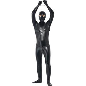 Smiffy's Men's Gimp Costume Bodysuit with Straps and Chainmail Pants Size Large