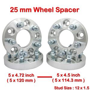 4 pcs 25mm 5 Studs 12 x 1.5 PCD 5 x 120 to 5 x 114.3 mm Wheel Spacer Spacers