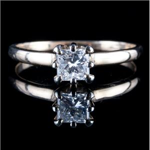 Vintage 1970's 14k Yellow & White Gold Diamond Solitaire Engagement Ring .60ct