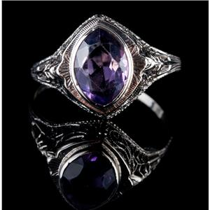 Vintage 1940s 14k White Gold Marquise Cut Amethyst Solitaire Cocktail Ring 1.6ct