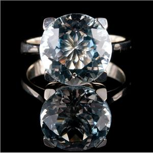 Stunning 14k White Gold Round Cut Aquamarine Solitaire Cocktail Ring 4.80ct