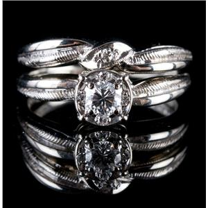 Vintage 1960's 14k White Gold Diamond Engagement / Wedding Ring Set .27ctw