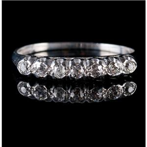 Vintage 1900's Platinum Old Mine Cut Diamond Wedding Band / Ring .315ctw