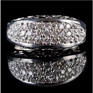 Stunning .950 Platinum Round Cut Diamond Cluster Cocktail Ring .925ctw