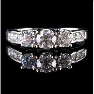14k White Gold Round Cut Three-Stone Diamond Engagement Ring W/ Accents .91ctw