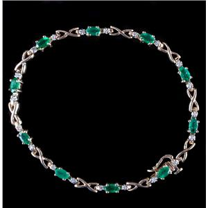10k Yellow Gold Oval Cut Emerald & Round Cut Diamond Tennis Bracelet 2.65ctw