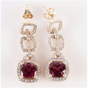 14k Yellow Gold Cushion Cut Rubelite & Diamond Dangle Earrings 5.30ctw
