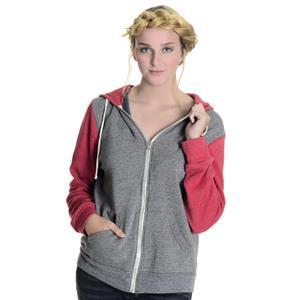 M Alternative Earth Gray/Red Colorblock Long Sleeve Zip Front Hoodie Sweatshirt