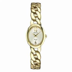 Seiko Womens SUP338 Gold Tone Chain Bracelet Ladies Solar Fashion Watch