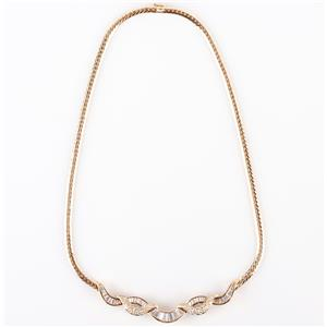 18k Yellow Gold Round & Baguette Diamond Necklace W/ Herringbone Chain 3.21ctw