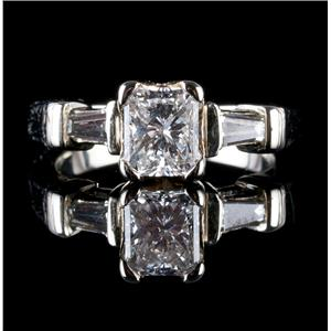 18k White Gold Radiant Cut Diamond Engagement Ring W/ GIA Certification 1.126ctw