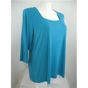 Susan Graver Essentials Size XL Turquoise/Teal Liquid Knit 3/4Sl Square Neck Top